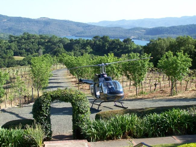 Helicopter landing at private winery
