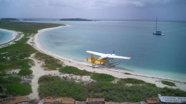 Seaplane Parked by island