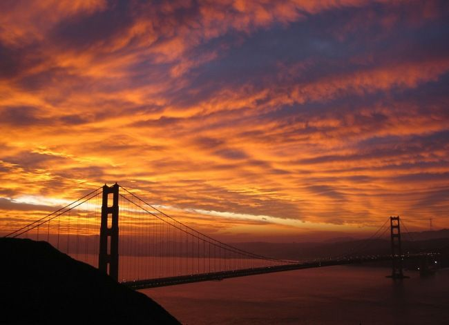 Golden Gate bridge at sunset from helicopter